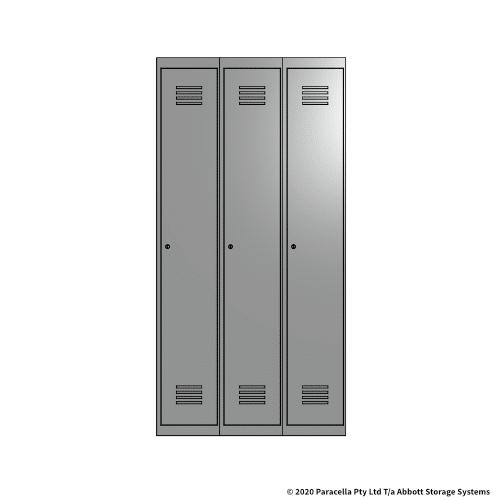 Grey 1 Door Locker 1800H x 300W x 450D Bank of 3