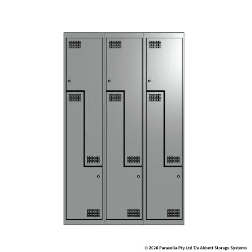 Grey 2 Door Stepped Locker 1800H x 375W x 450D Bank of 3