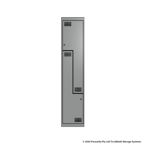 Grey 2 Door Stepped Locker 1800H x 375W x 450D Single