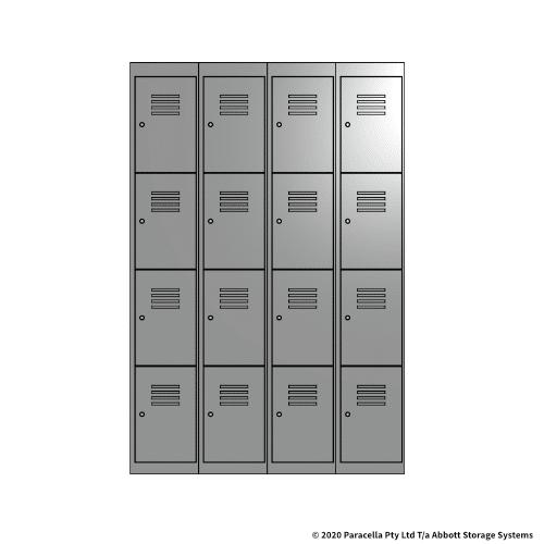 Grey 4 Door Locker 1800H x 1200W x 450D Bank of 4