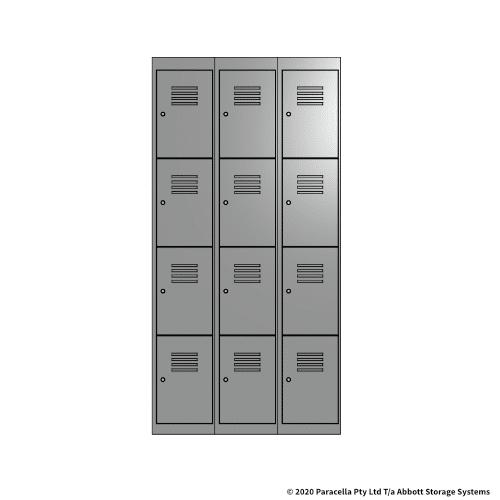 Grey 4 Door Locker 1800H x 300W x 450D Bank of 3