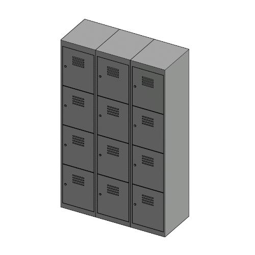 Grey 4 Door Locker 1800H x 375W x 450D Bank of 3