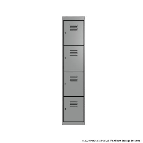 Grey 4 Door Locker 1800H x 375W x 450D Single