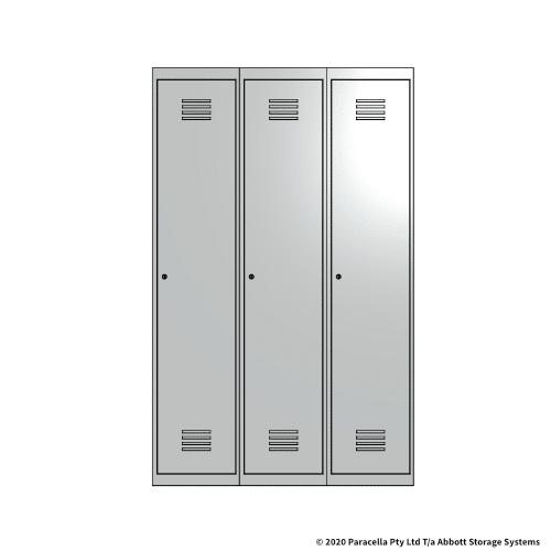 White 1 Door Locker 1800H x 375W x 450D Bank of 3