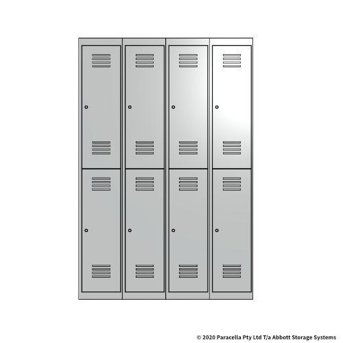 White 2 Door Locker 1800H x 300W x 450D Bank of 4