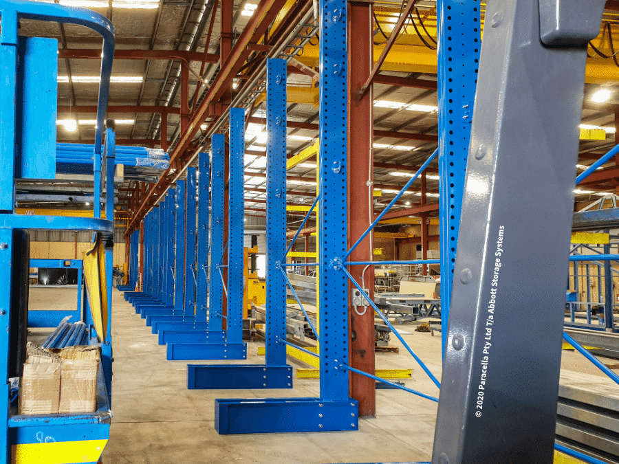 Powder Coated Cantilever Racking - Backbone Steel Cantilever Base & Columns Installation