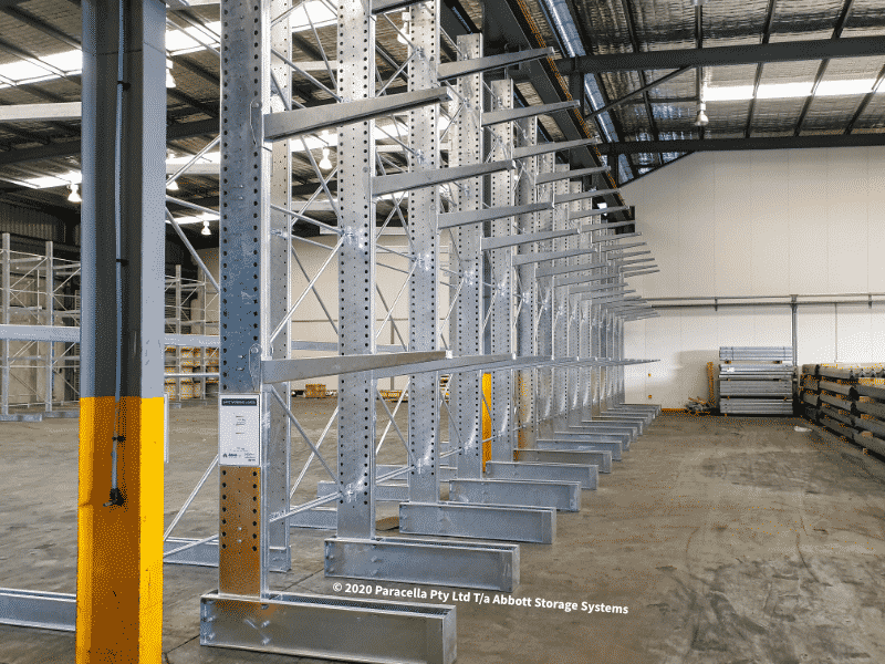 Hot Dipped Galvanised Heavy Duty Cantilever Racking Single Sided Bays