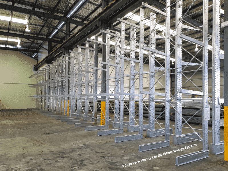 Hot Dipped Galvanised Heavy Duty Cantilever Racks Single Sided Bays