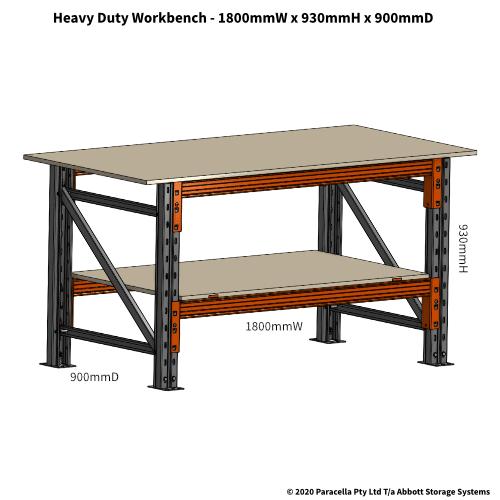 PRW26510 Pre-Galv Workbench Heavy Duty 1800W x 900D x 930H, 1500kg - Dimensions