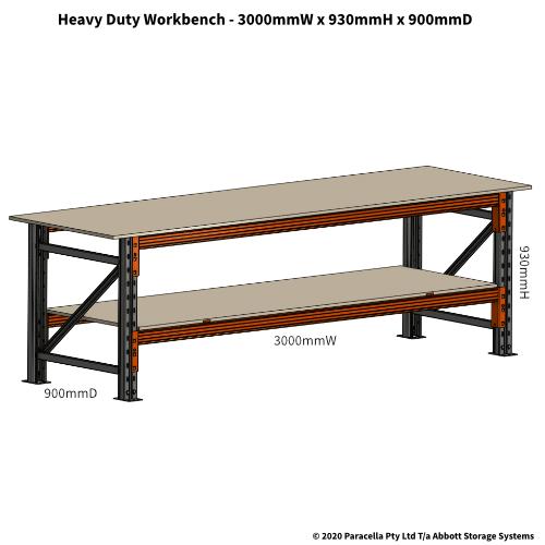 PRW26550 Workbench Heavy Duty 3000W x 900D x 930H, 1500kg - Dimensions