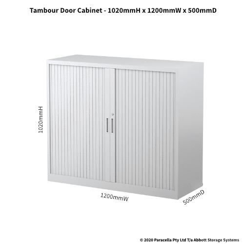 Tambour Door Cabinet 1020H X 1200W X 500D White CB2637PW - Dimensions