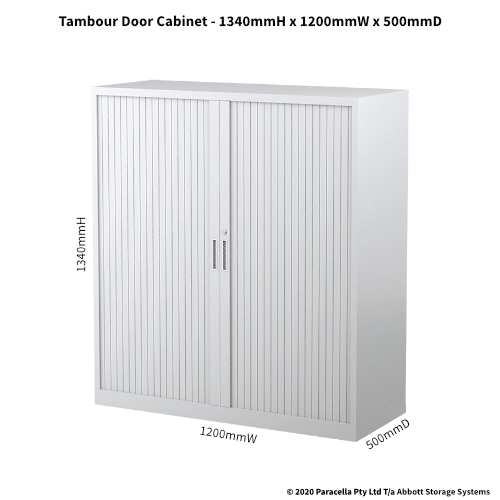 Tambour Door Cabinet 1340H x 1200W x 500D White CB2639PW - Dimensions