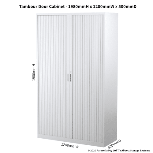 Tambour Door Cabinet 1980H x 1200W x 500D White CB2641PW - Dimensions