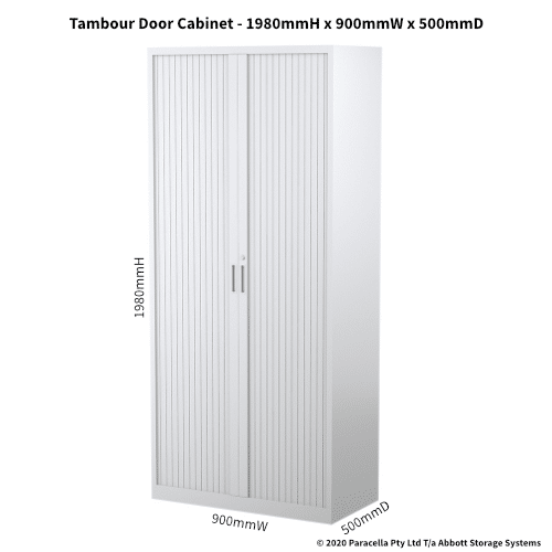 Tambour Door Cabinet 1980H x 900W x 500DGrey CB2635PW - Dimensions