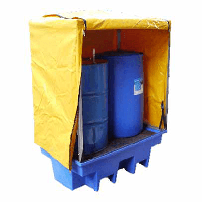 MH12037 - PVC Cover and Galvanised Frame for 2 Drum Bund