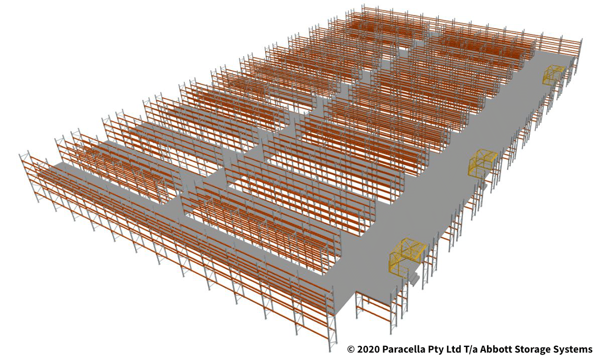 Warehouse Racking Design - Birds Eye View