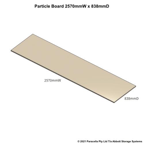 PR45730 - 18mm Shelf Board 2570mmW x 838mmD - Dimensions