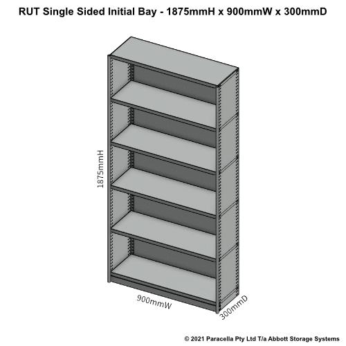 RU41121S - RUT 1875H x 900W x 300D Single Sided Initial Bay - Dimensions