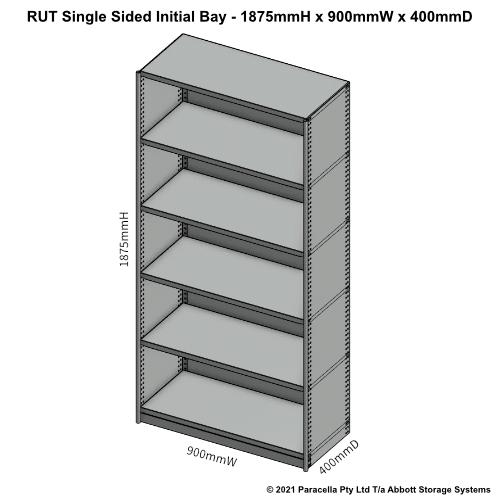 RU41121S - RUT 1875H x 900W x 400D Single Sided Initial Bay - Dimensions