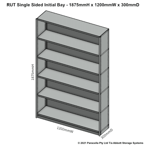 RU41131S - RUT 1875H x 1200W x 300D Single Sided Initial Bay - Dimensions