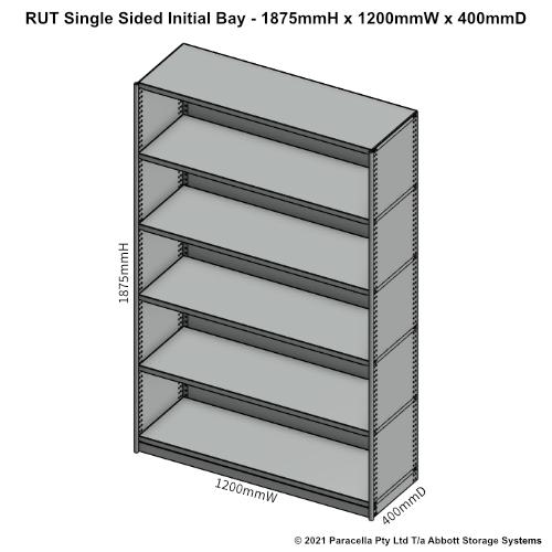 RU41231S - RUT 1875H x 1200W x 400D Single Sided Initial Bay - Dimensions
