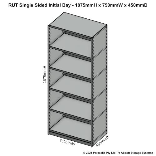 RU41311S - RUT 1875H x 750W x 450D Single Sided Initial Bay - Dimensions