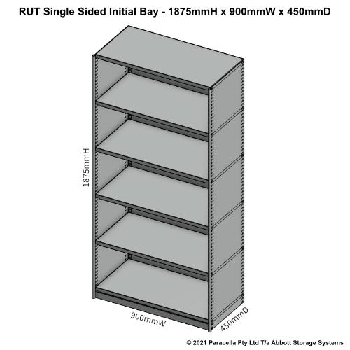 RU41321S - RUT 1875H 900W 450D Single Sided Initial Bay - Dimensions