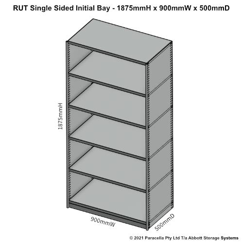 RU41421S - RUT 1875H x 900W x 500D Single Sided Initial Bay - Dimensions