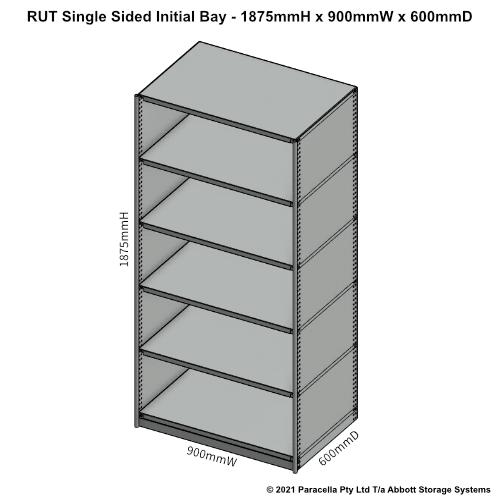 RU41521S - RUT 1875H x 900W x 600D Single Sided Initial Bay - Dimensions