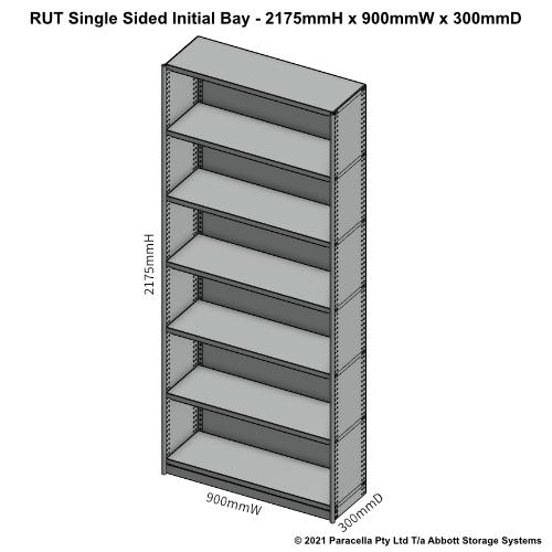 RU43121S - RUT 2175H x 900W x 300D Single Sided Initial Bay - Dimensions