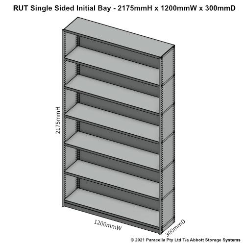 RU43131S - RUT 2175H x 1200W x 300D Single Sided Initial Bay - Dimensions