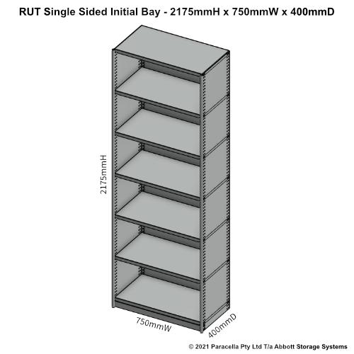 RU43211S - RUT 2175H x 750W x 400D Single Sided Initial Bay - Dimensions