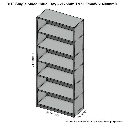 RU43221S - RUT 2175H x 900W x 400D Single Sided Initial Bay - Dimensions