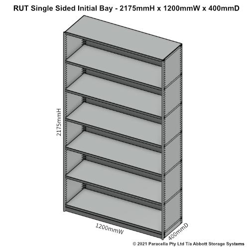 RU43231S - RUT 2175H x 1200W x 400D Single Sided Initial Bay - Dimensions