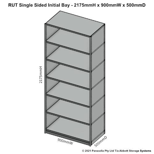 RU43421S - RUT 2175H x 900W x 500D Single Sided Initial Bay - Dimensions