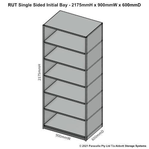 RU43521S - RUT 2175H x 900W x 600D Single Sided Initial Bay - Dimensions