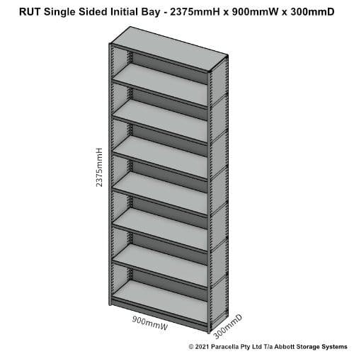 RU45121S - RUT 2375H x 900W x 300D Single Sided Initial Bay - Dimensions