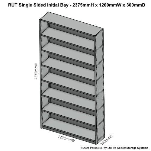 RU45131S - RUT 2375H x 1200W x 300D Single Sided Initial Bay - Dimensions