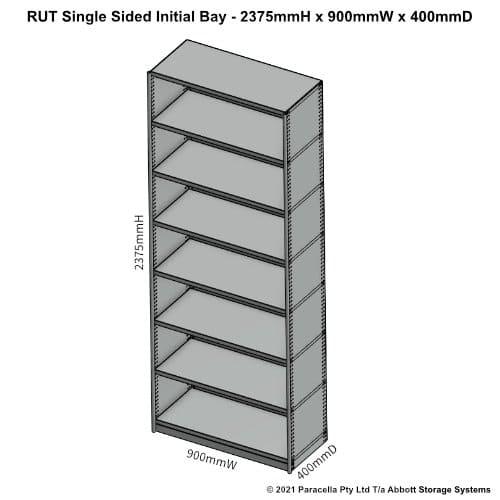 RU45221S - RUT 2375H x 900W x 400D Single Sided Initial Bay - Dimensions