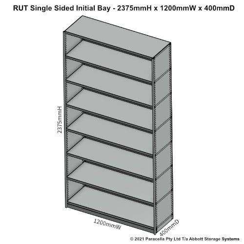 RU45231S - RUT 2375H x 1200W x 400D Single Sided Initial Bay - Dimensions