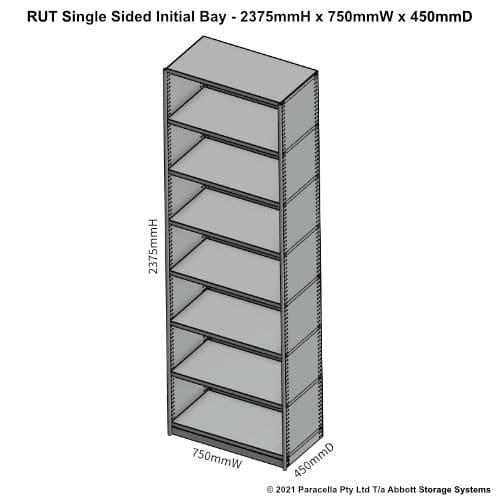 RU45311S - RUT 2375H x 750W x 450D Single Sided Initial Bay - Dimensions