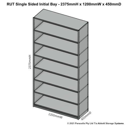 RU45331S - RUT 2375H x 1200W x 450D Single Sided Initial Bay - Dimensions
