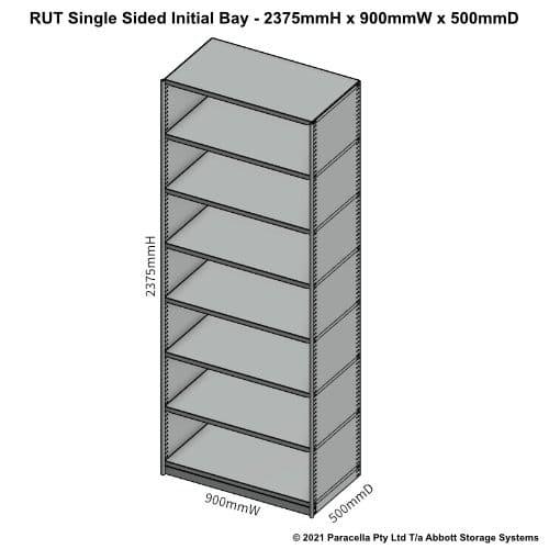 RU45421S - RUT 2375H x 900W x 500D Single Sided Initial Bay - Dimensions
