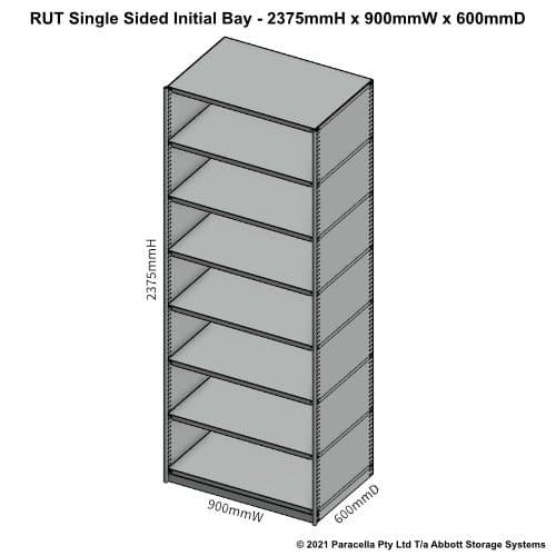 RU45521S - RUT 2375H x 900W x 600D Single Sided Initial Bay - Dimensions